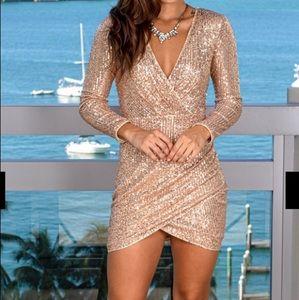 NWT Rose Gold Sequin V-Neck Short Dress